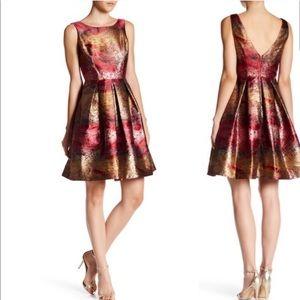 NICOLE MILLER NEW YORK Metallic Fit & Flare Dress